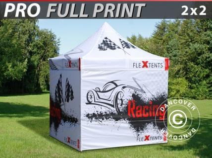 Faltzelt Faltpavillon Wasserdicht FleXtents PRO mit vollflächigem Digitaldruck, 2x2m, mit 4 Seitenwänden