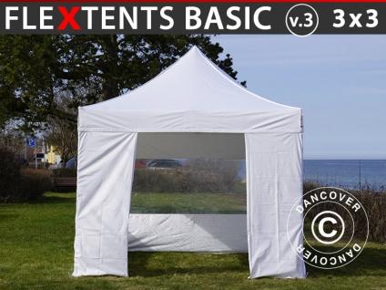Faltzelt Faltpavillon Wasserdicht FleXtents Basic v.3, 3x3m Weiß, mit 4 Seitenwänden