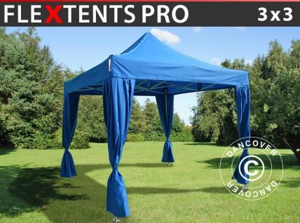Faltzelt Faltpavillon Wasserdicht FleXtents PRO 3x3m Blau, mit 4 Gardinen