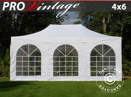 Faltzelt FleXtents PRO Vintage Style 4x6m Weiß, mit 8 wänden