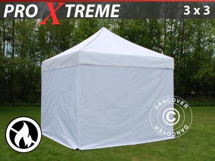 Faltzelt Faltpavillon Wasserdicht FleXtents Xtreme 3x3m Weiß, Flammenhemmend, mit 4 wänden