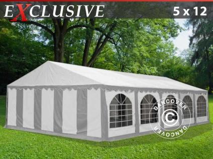 Partyzelt festzelt Exclusive 5x12m PVC, Grau/Weiß