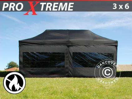 Faltzelt Faltpavillon Wasserdicht FleXtents Xtreme 3x6m Schwarz, Flammenhemmend, mit 6 Wänden