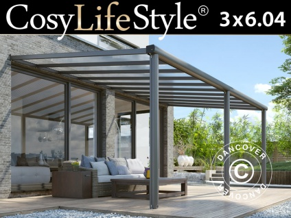 Terrassenüberdachung Compact aus Polycarbonat, 3x6, 04m, Anthrazit