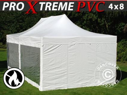Faltzelt Faltpavillon Wasserdicht FleXtents Xtreme Heavy Duty 4x8m Weiß, mit 6 Wänden