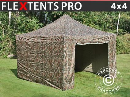 Faltzelt Faltpavillon Wasserdicht FleXtents PRO 4x4m Camouflage, mit 4 Seitenwänden