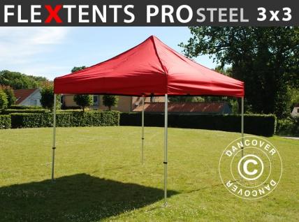 Faltzelt Faltpavillon Wasserdicht FleXtents PRO Steel 3x3m Rot