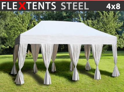 Faltzelt Faltpavillon Wasserdicht FleXtents Steel 4x8m Weiß, mit 10 Gardinen