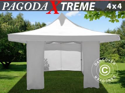 Faltzelt FleXtents Pagoda Xtreme 4x4m / (5x5m) Weiß, mit 4 wänden