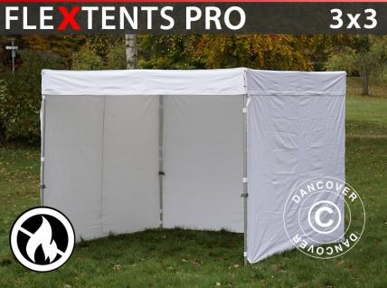 Faltzelt Faltpavillon Wasserdicht FleXtents® PRO Exhibition mit Seitenwänden, 3x3m, weiß, Flammfest