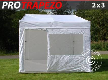Faltzelt Faltpavillon Wasserdicht FleXtents PRO Trapezo 2x3m Weiß, mit 4 Seitenwänden