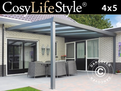 Terrassenüberdachung Expert aus Polycarbonat, 4x5m, Anthrazit