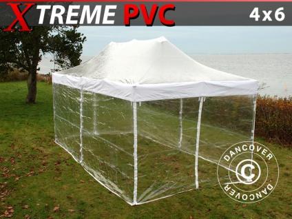 Faltzelt Faltpavillon Wasserdicht FleXtents Xtreme 4x6m Transparent, mit 8 Wänden