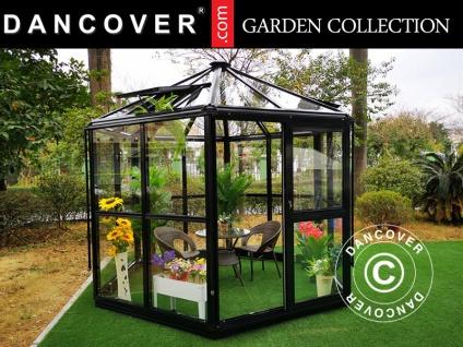 Orangerie sechskantig Glas ZEN 7, 99m², 3, 2x2, 83x2, 75m, mit Fundament, schwarz