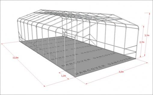Zeltgarage Garagenzelt PRO 6x12x3, 7m PVC, Grau - Vorschau 4