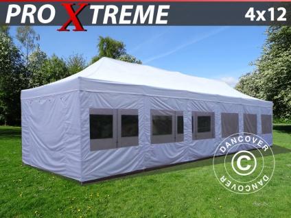 Faltzelt Faltpavillon Wasserdicht FleXtents Xtreme 4x12m Weiß, mit wänden