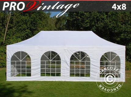 Faltzelt Faltpavillon Wasserdicht FleXtents PRO Vintage Style 4x8m Weiß, mit 6 Seitenwänden