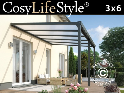 Terrassenüberdachung Easy aus Polycarbonat, 3x6m, Anthrazit