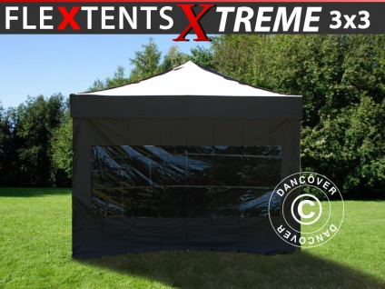 Faltzelt Faltpavillon Wasserdicht FleXtents Xtreme 3x3m Schwarz, mit 4 Seitenwänden