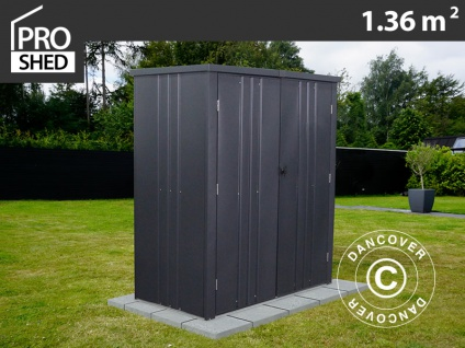 Geräteschuppen Metallgerätehaus/Metallschrank 1, 6x0, 85x1, 8m, ProShed®, Anthrazit