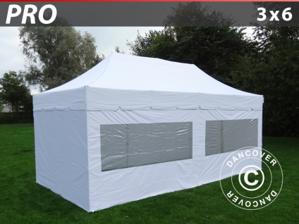 Faltzelt Faltpavillon Wasserdicht FleXtents PRO Peaked 3x6m Weiß, mit 6 Wänden