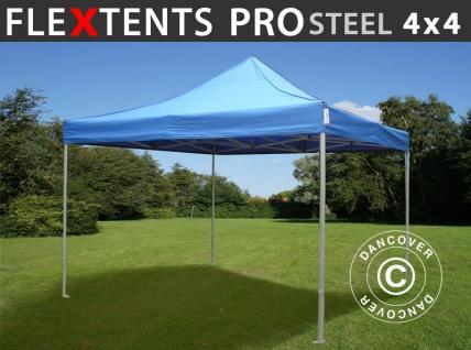 Faltzelt Faltpavillon Wasserdicht FleXtents PRO Steel 4x4m Blau