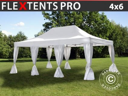 Faltzelt Faltpavillon Wasserdicht FleXtents PRO 4x6m Weiß, mit 8 Gardinen