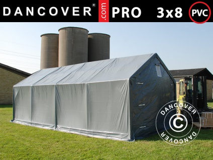 Lagerzelt Zeltgarage Garagenzelt PRO 3x8x2x2, 82m, PVC, Grau