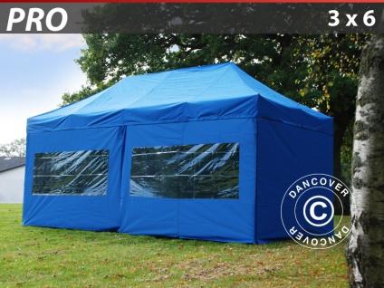 Faltzelt FleXtents PRO 3x6m Blau, mit 6 Wänden