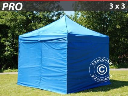 Faltzelt FleXtents PRO 3x3m Blau, mit 4 wänden