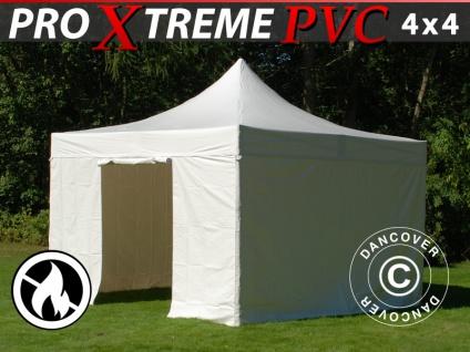 Faltzelt Faltpavillon Wasserdicht FleXtents Xtreme Heavy Duty 4x4 m, Weiß mit 4 Seitenwänden