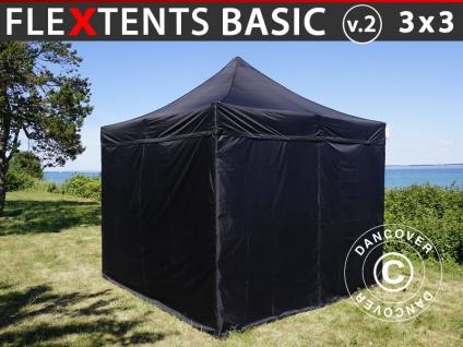 Faltzelt FleXtents Basic v.2, 3x3m Schwarz, mit 4 wänden