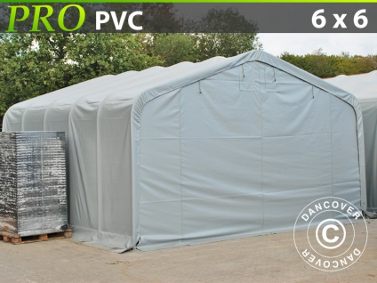 Lagerzelt Zeltgarage Garagenzelt PRO 6x6x3, 7m PVC, Grau