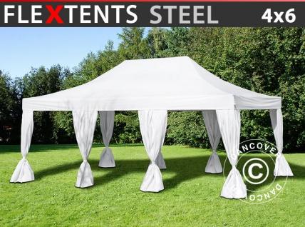 Faltzelt Faltpavillon Wasserdicht FleXtents Steel 4x6m Weiß, mit 8 Gardinen