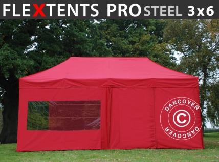 Faltzelt Faltpavillon Wasserdicht FleXtents PRO Steel 3x6m Rot, mit 6 Seitenwänden