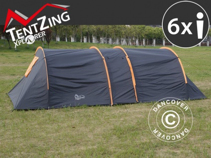 Campingzelt, TentZing® Tunnel, 6 Personen, orange/dunkelgrau