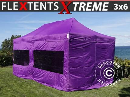 Faltzelt FleXtents Xtreme 3x6m Lila, mit 6 wänden