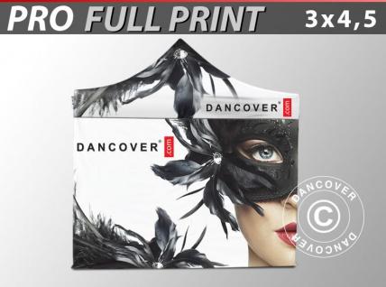 Faltzelt Faltpavillon Wasserdicht FleXtents PRO mit vollflächigem Digitaldruck, 3x4, 5m, mit 4 Seitenwänden