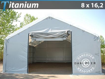 Zelthalle Titanium 8x16, 2x3x5m, Weiß/Grau