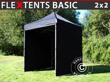 Faltzelt FleXtents Basic, 2x2m Schwarz, mit 4 wänden
