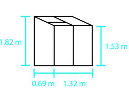 Anbaugewächshaus Glas Halls Altan, 0, 91m², 0, 69x1, 32x1, 82m, Aluminium - Vorschau 2