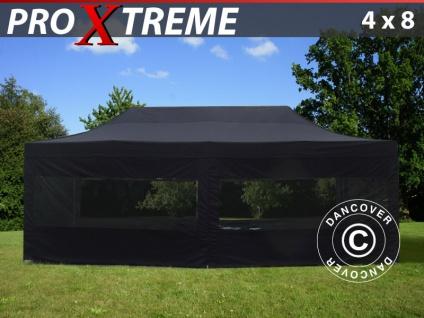 Faltzelt Faltpavillon Wasserdicht FleXtents Xtreme 4x8m Schwarz, mit 6 Seitenwänden
