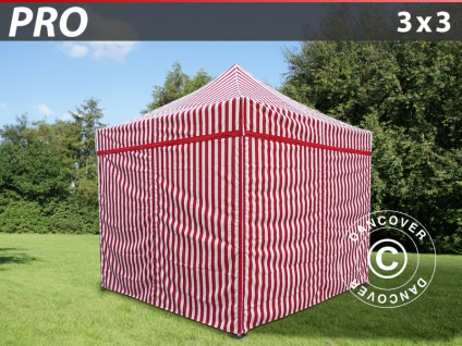 Faltzelt Faltpavillon Wasserdicht FleXtents PRO 3x3m Gestreift, mit 4 wänden