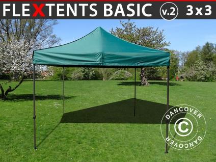 Faltzelt Faltpavillon Wasserdicht FleXtents Basic v.2, 3x3m Grün