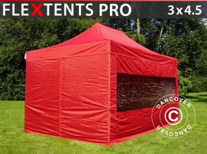 Faltzelt Faltpavillon Wasserdicht FleXtents PRO 3x4, 5m Rot, mit 4 Seitenwänden