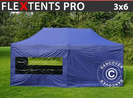 Faltzelt FleXtents PRO 3x6m Dunkeblau, mit 6 wänden