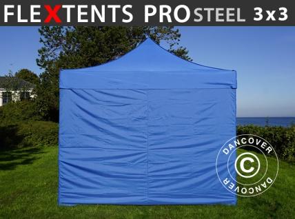 Faltzelt Faltpavillon Wasserdicht FleXtents PRO Steel 3x3m Blau, mit 4 Seitenwänden