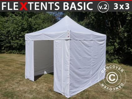 Faltzelt FleXtents Basic v.2, 3x3m Weiß, mit 4 wänden