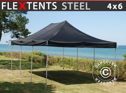 Faltzelt Faltpavillon Wasserdicht FleXtents Steel 4x6m Schwarz