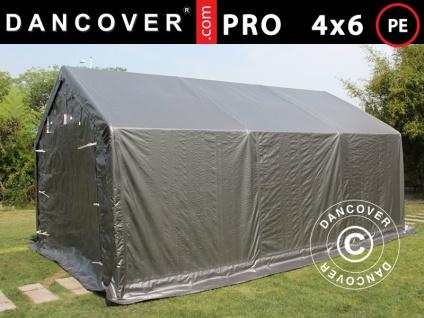 Lagerzelt Zeltgarage Garagenzelt PRO 4x6x2x3, 1m, PE, Grau